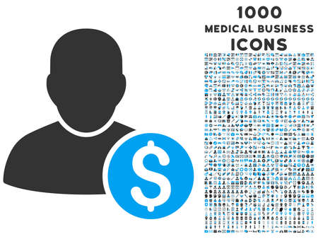 stockbroker: Businessman vector bicolor icon with 1000 medical business icons. Set style is flat pictograms, blue and gray colors, white background.