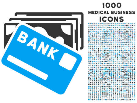 creditcard: Credit Money vector bicolor icon with 1000 medical business icons. Set style is flat pictograms, blue and gray colors, white background.