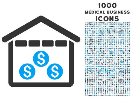 depository: Money Depository vector bicolor icon with 1000 medical business icons. Set style is flat pictograms, blue and gray colors, white background. Illustration