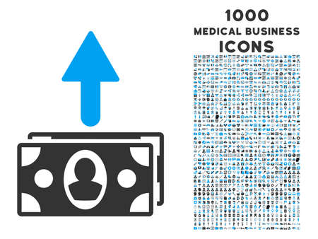 banknotes: Spend Banknotes vector bicolor icon with 1000 medical business icons. Set style is flat pictograms, blue and gray colors, white background.