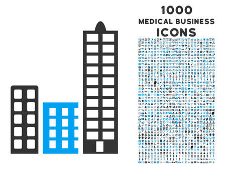 megapolis: City raster bicolor icon with 1000 medical business icons. Set style is flat pictograms, blue and gray colors, white background. Stock Photo