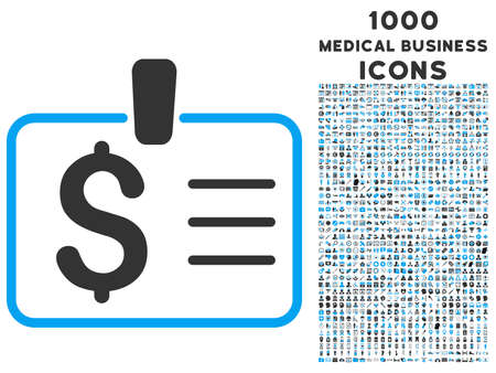 chequera: Dollar Badge raster bicolor icon with 1000 medical business icons. Set style is flat pictograms, blue and gray colors, white background.