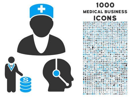 doctor with dollars: Medical Business raster bicolor icon with 1000 medical business icons. Set style is flat pictograms, blue and gray colors, white background.