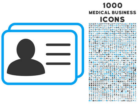 Account Cards vector bicolor icon with 1000 medical business icons. Set style is flat pictograms, blue and gray colors, white background. Illustration