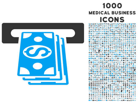automatic transaction machine: Atm Cashout vector bicolor icon with 1000 medical business icons. Set style is flat pictograms, blue and gray colors, white background.