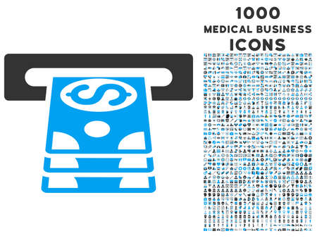 cashpoint: Bank Cashpoint vector bicolor icon with 1000 medical business icons. Set style is flat pictograms, blue and gray colors, white background. Illustration