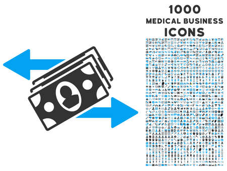 banknotes: Banknotes Payments vector bicolor icon with 1000 medical business icons. Set style is flat pictograms, blue and gray colors, white background. Illustration