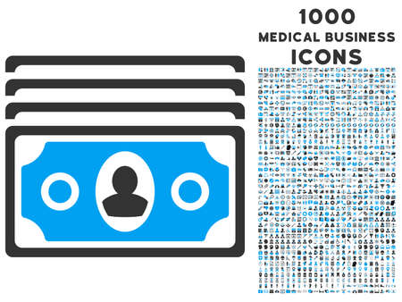 banknotes: Banknotes vector bicolor icon with 1000 medical business icons. Set style is flat pictograms, blue and gray colors, white background.