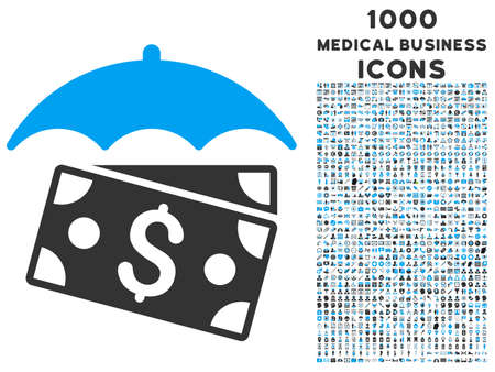 Banknotes Umbrella vector bicolor icon with 1000 medical business icons. Set style is flat pictograms, blue and gray colors, white background.