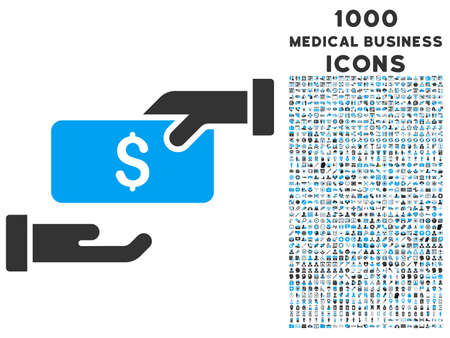 resell: Bribe vector bicolor icon with 1000 medical business icons. Set style is flat pictograms, blue and gray colors, white background.