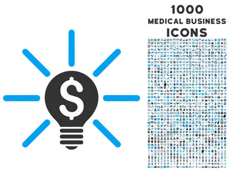 gray bulb: Business Idea Bulb vector bicolor icon with 1000 medical business icons. Set style is flat pictograms, blue and gray colors, white background.