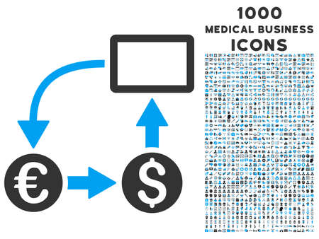 cashflow: Cashflow Euro Exchange vector bicolor icon with 1000 medical business icons. Set style is flat pictograms, blue and gray colors, white background. Illustration