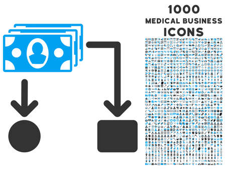 cashflow: Cashflow vector bicolor icon with 1000 medical business icons. Set style is flat pictograms, blue and gray colors, white background.