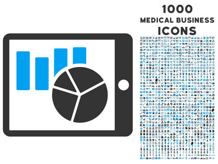 Charts on Pda vector bicolor icon with 1000 medical business icons. Set style is flat pictograms, blue and gray colors, white background.