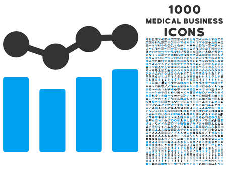 Charts vector bicolor icon with 1000 medical business icons. Set style is flat pictograms, blue and gray colors, white background.