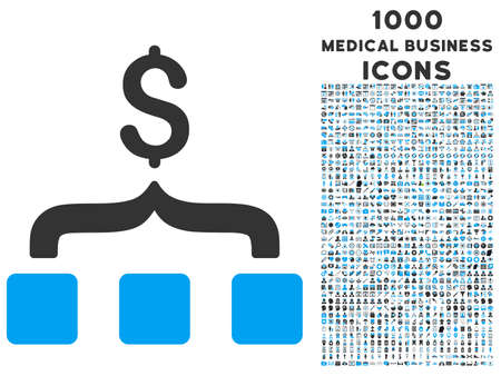 collect: Collect Money vector bicolor icon with 1000 medical business icons. Set style is flat pictograms, blue and gray colors, white background.
