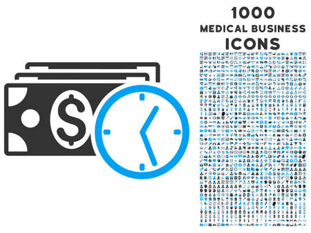 timed: Credit vector bicolor icon with 1000 medical business icons. Set style is flat pictograms, blue and gray colors, white background.