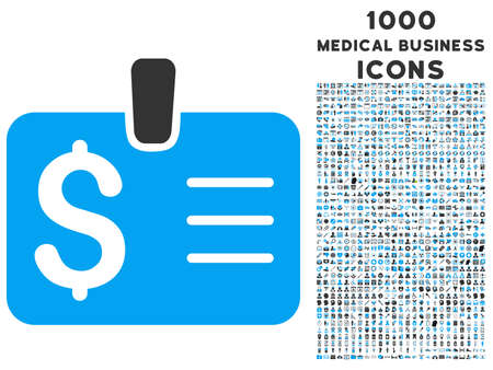 chequebook: Dollar Badge vector bicolor icon with 1000 medical business icons. Set style is flat pictograms, blue and gray colors, white background.