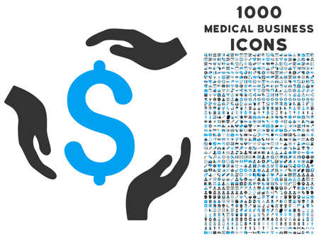 Dollar Care Hands vector bicolor icon with 1000 medical business icons. Set style is flat pictograms, blue and gray colors, white background. Illustration