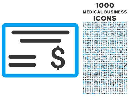 Dólar del icono del vector bicolor Cheque con 1000 iconos de negocios médica. conjunto de estilos es pictogramas planas, los colores azul y gris, fondo blanco. Foto de archivo - 62310515