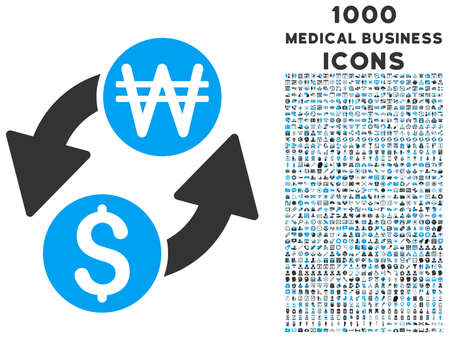 won: Dollar Korean Won Exchange vector bicolor icon with 1000 medical business icons. Set style is flat pictograms, blue and gray colors, white background.