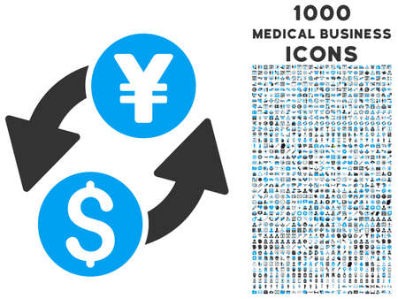 renminbi: Dollar Yen Exchange vector bicolor icon with 1000 medical business icons. Set style is flat pictograms, blue and gray colors, white background. Illustration