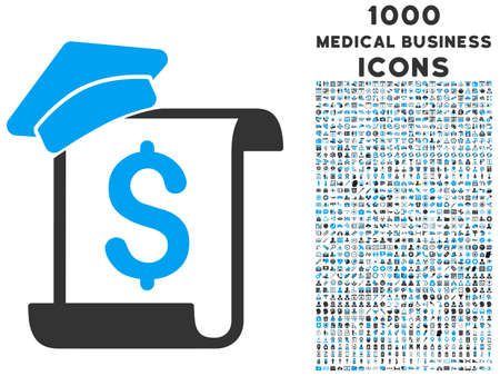 indent: Education Invoice vector bicolor icon with 1000 medical business icons. Set style is flat pictograms, blue and gray colors, white background.