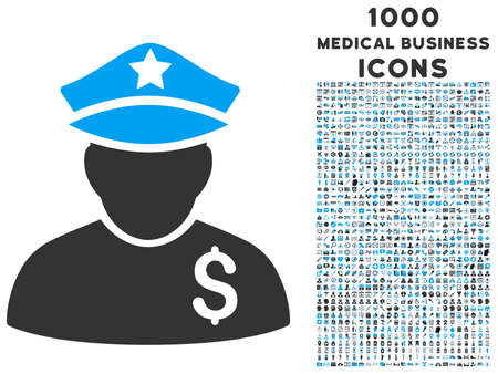 bobby: Financial Policeman vector bicolor icon with 1000 medical business icons. Set style is flat pictograms, blue and gray colors, white background. Illustration