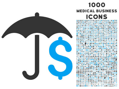 Financial Umbrella vector bicolor icon with 1000 medical business icons. Set style is flat pictograms, blue and gray colors, white background.