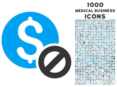 disallowed: Free of Charge vector bicolor icon with 1000 medical business icons. Set style is flat pictograms, blue and gray colors, white background.