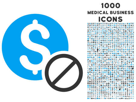 restrictive: Free of Charge vector bicolor icon with 1000 medical business icons. Set style is flat pictograms, blue and gray colors, white background.