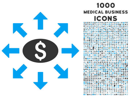 Mass Cashout vector bicolor icon with 1000 medical business icons. Set style is flat pictograms, blue and gray colors, white background.