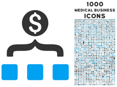 converge: Money Aggregator vector bicolor icon with 1000 medical business icons. Set style is flat pictograms, blue and gray colors, white background. Illustration