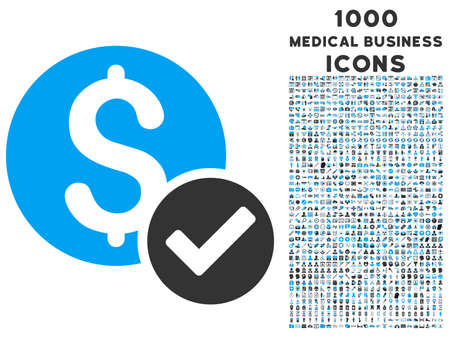 Approved Payment glyph bicolor icon with 1000 medical business icons. Set style is flat pictograms, blue and gray colors, white background.