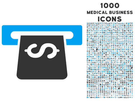 automatic transaction machine: Atm glyph bicolor icon with 1000 medical business icons. Set style is flat pictograms, blue and gray colors, white background.