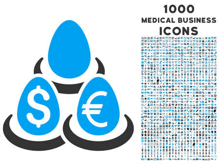 financial diversification: Currency Deposit Diversification glyph bicolor icon with 1000 medical business icons. Set style is flat pictograms, blue and gray colors, white background. Stock Photo