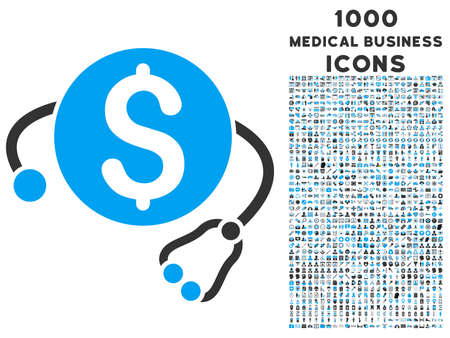 doctor with dollars: Financial Health glyph bicolor icon with 1000 medical business icons. Set style is flat pictograms, blue and gray colors, white background. Stock Photo