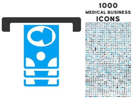 cashpoint: Withdraw Banknotes glyph bicolor icon with 1000 medical business icons. Set style is flat pictograms, blue and gray colors, white background.