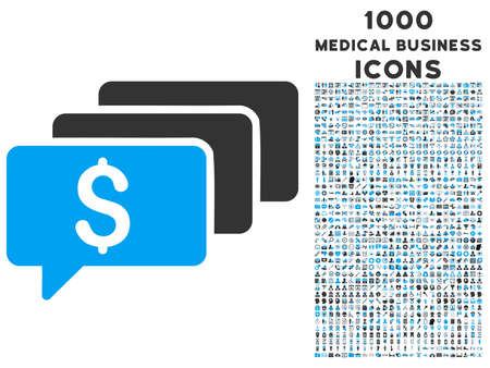 sms payment: Money Messages vector bicolor icon with 1000 medical business icons. Set style is flat pictograms, blue and gray colors, white background.