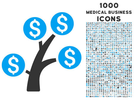 Money Tree vector bicolor icon with 1000 medical business icons. Set style is flat pictograms, blue and gray colors, white background.