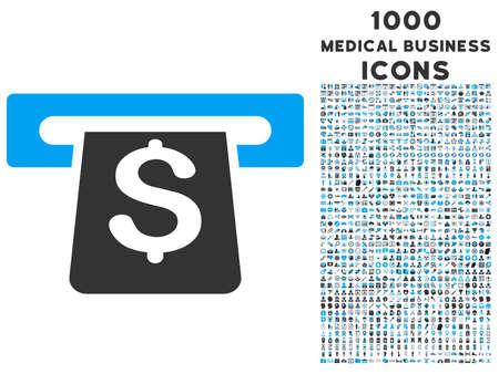 automatic transaction machine: Terminal de pago del icono del vector bicolor con 1000 iconos de negocios médica. conjunto de estilos es pictogramas planas, los colores azul y gris, fondo blanco.