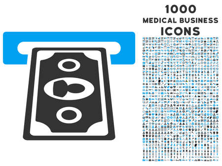 automatic transaction machine: Payment Terminal vector bicolor icon with 1000 medical business icons. Set style is flat pictograms, blue and gray colors, white background.