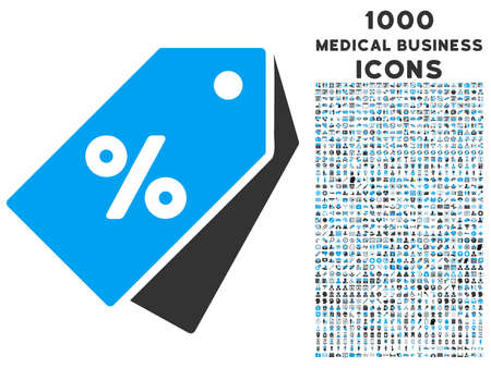 allowed to pass: Percent Discount Tags vector bicolor icon with 1000 medical business icons. Set style is flat pictograms, blue and gray colors, white background.