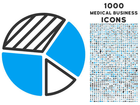 Pie Chart vector bicolor icon with 1000 medical business icons. Set style is flat pictograms, blue and gray colors, white background.