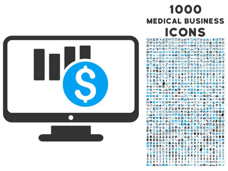 sales chart: Sales Chart Monitoring vector bicolor icon with 1000 medical business icons. Set style is flat pictograms, blue and gray colors, white background.