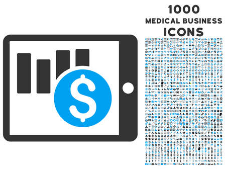 pda: Sales Chart on Pda vector bicolor icon with 1000 medical business icons. Set style is flat pictograms, blue and gray colors, white background.