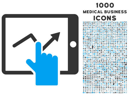 pda: Tap Trend on Pda vector bicolor icon with 1000 medical business icons. Set style is flat pictograms, blue and gray colors, white background. Illustration