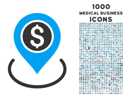 market place: Bank Place vector bicolor icon with 1000 medical business icons. Set style is flat pictograms, blue and gray colors, white background.