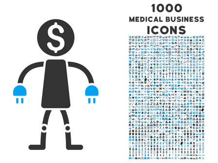 collectors: Bank Robot vector bicolor icon with 1000 medical business icons. Set style is flat pictograms, blue and gray colors, white background.