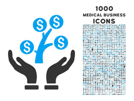 commercial tree care: Money Tree Care Hands vector bicolor icon with 1000 medical business icons. Set style is flat pictograms, blue and gray colors, white background.